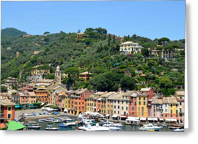 Portofino Hillside Greeting Card by Corinne Rhode