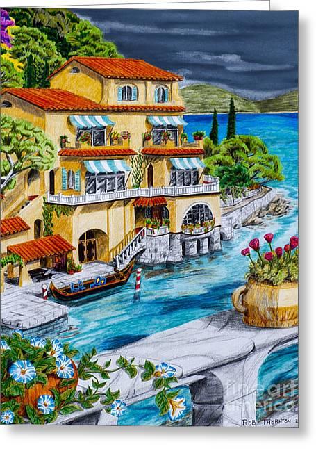 Portofino Villa Greeting Card by Robert Thornton