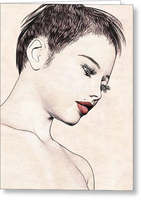 Portrait - No. 10 - Red Lips Greeting Card