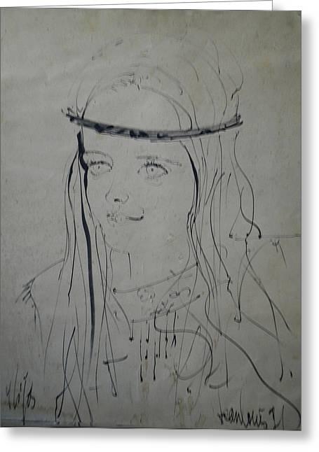 Portrait 1971 Colette Greeting Card by Colette V Hera  Guggenheim