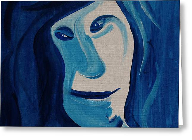 Portrait In Blue Greeting Card by Sheep McTavish