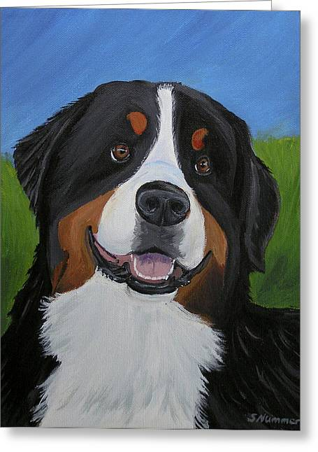 Portrait Of A Bernese Mountain Dog Greeting Card