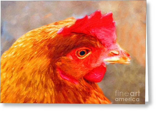 Portrait Of A Chicken Greeting Card by Wingsdomain Art and Photography