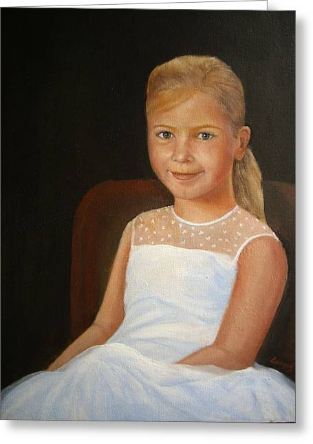 Greeting Card featuring the painting Portrait Of A Girl by Katalin Luczay