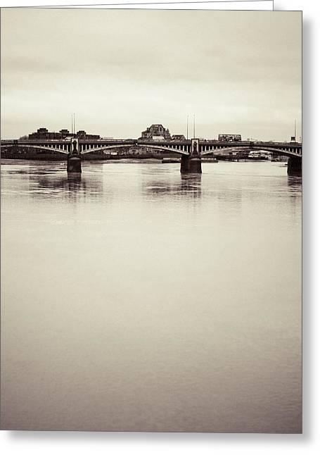 Greeting Card featuring the photograph Portrait Of A London Bridge by Lenny Carter