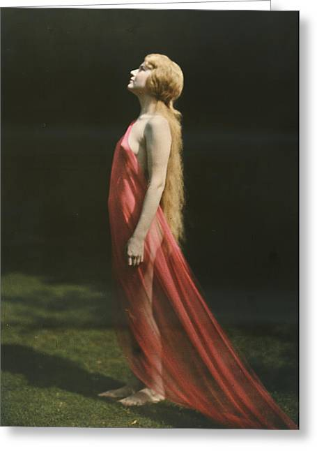 Portrait Of A Nude Woman Draped Greeting Card by Franklin Price Knott