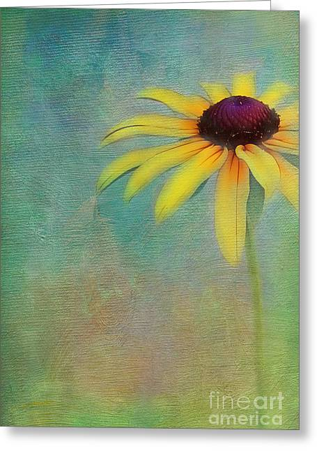 Portrait Of A Sunflower Greeting Card by Judi Bagwell