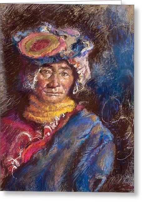 Portrait Of A Tibetan Woman Greeting Card