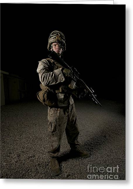 Portrait Of A U.s. Marine Greeting Card by Terry Moore