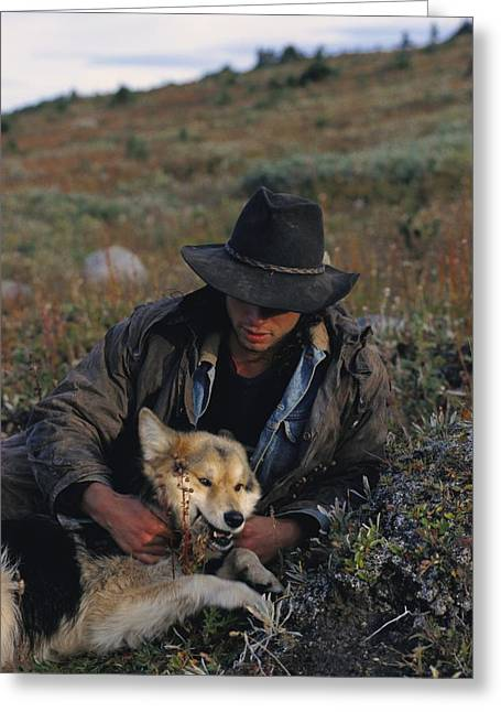 Portrait Of A Wrangler With His Pet Dog Greeting Card