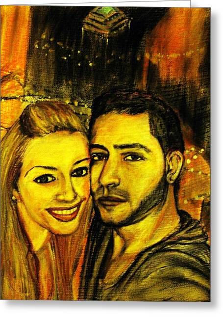 Greeting Card featuring the pastel Portrait Of A Young Couple by Amanda Dinan