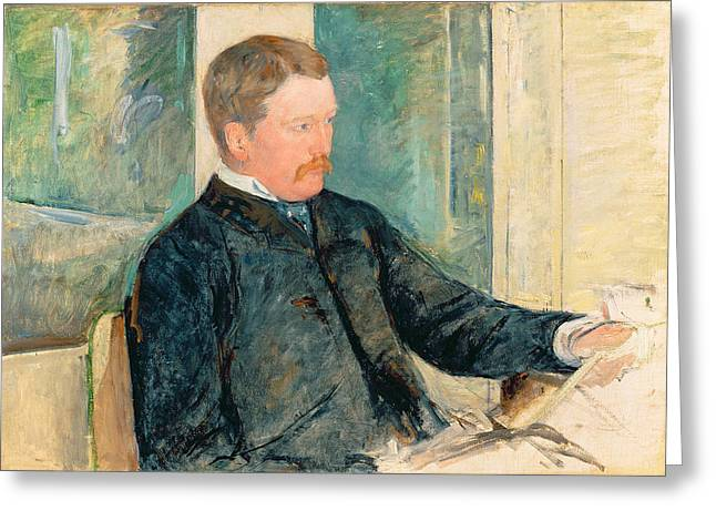 Portrait Of Alexander J. Cassatt Greeting Card by Mary Stevenson Cassatt