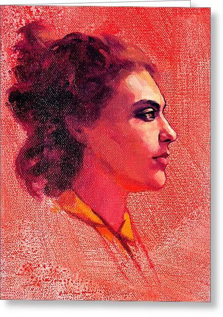 Portrait Of Alysha Greeting Card by Roz McQuillan