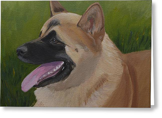 Portrait Of An Akita Greeting Card by Sharon Nummer