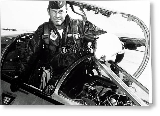 Portrait Of Charles Chuck Yeager, American Pilot Greeting Card by Nasa