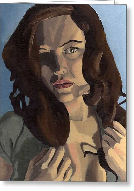 Greeting Card featuring the painting Portrait Of Emily Ann by Stephen Panoushek