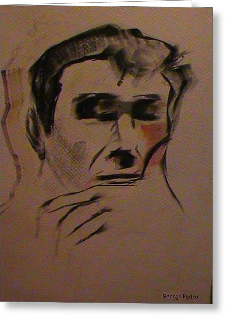 Greeting Card featuring the painting Portrait Of Frank Frazetta by George Pedro