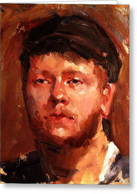 Portrait Of Irish Fisherman With Weary Sad Eyes And Hard Work Face Deep Lines And Lost Souls Cap Greeting Card