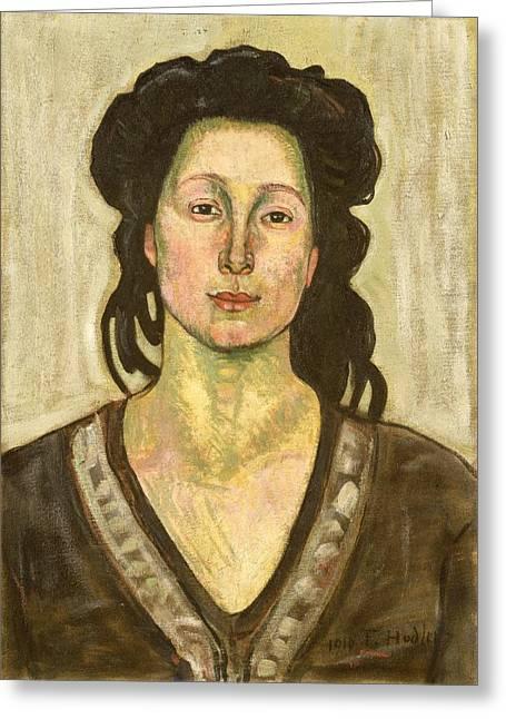 Portrait Of Jeanne Cerani Greeting Card by  Ferdinand Hodler
