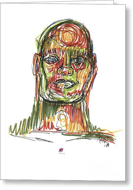 Portrait Of Man Greeting Card by Carol Rashawnna Williams