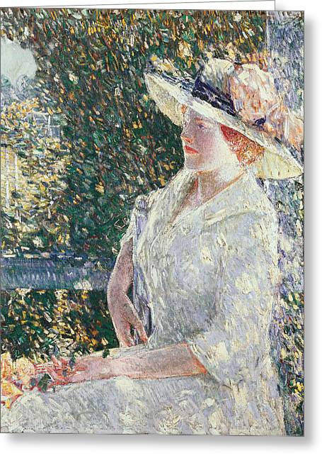 Portrait Of Miss Weir Greeting Card by Childe Hassam