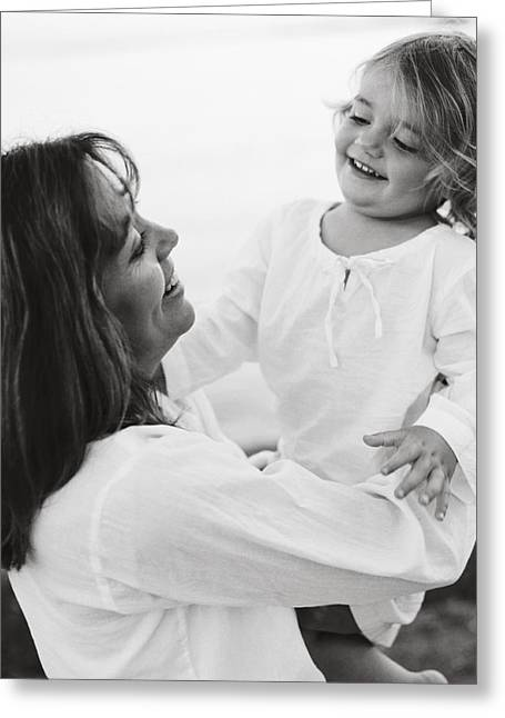 Portrait Of Mother And Daughter Greeting Card