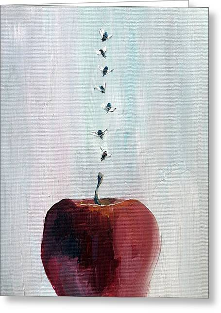 Portrait Of Seven Flies Flying Over An Apple Greeting Card by Fabrizio Cassetta
