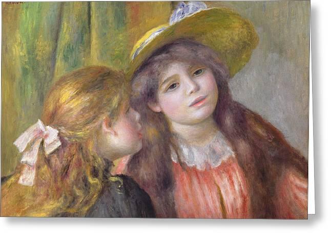 Portrait Of Two Girls Greeting Card by Pierre Auguste Renoir