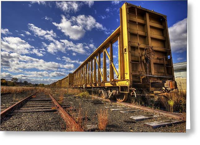 Portsmouth Rail Cars Greeting Card by Eric Gendron