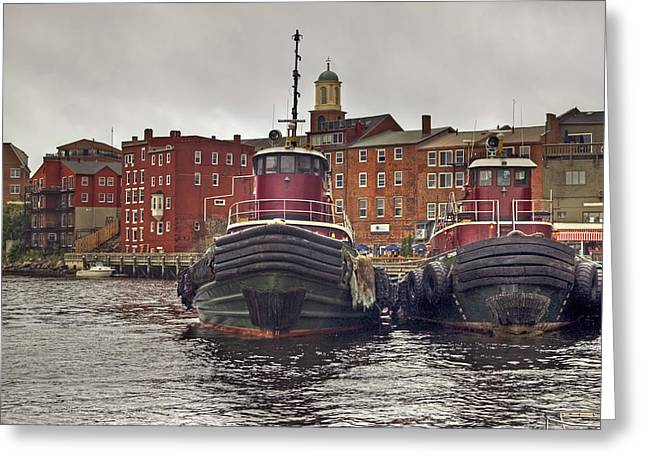 Portsmouth Tugs Greeting Card by Joann Vitali