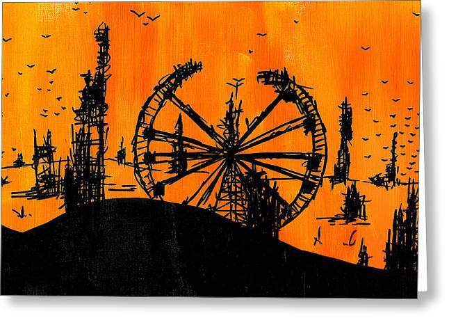 Post Apocalyptic Carnival Skyline Greeting Card by Jera Sky