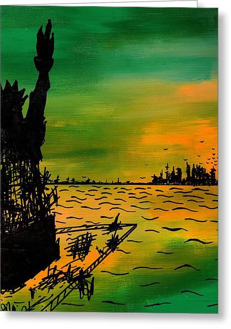 Post Apocalyptic New York Skyline Greeting Card by Jera Sky