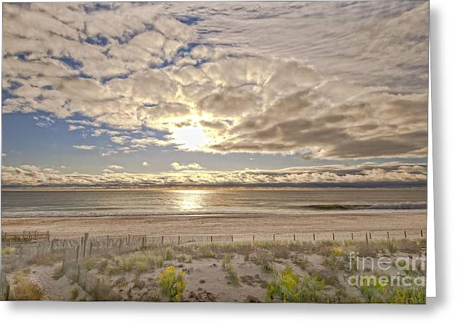 Greeting Card featuring the photograph Post-tourist Sunrise Ocean City by Jim Moore