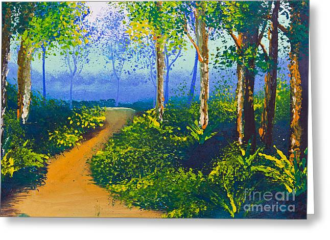 Poster Color Drawing Walk Way In Forest Greeting Card by Mongkol Chakritthakool