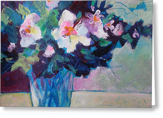 Posy In Magenta And Blue Greeting Card