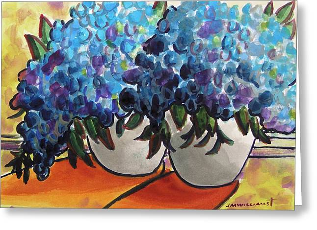 Pots Of Hydrangeas Greeting Card