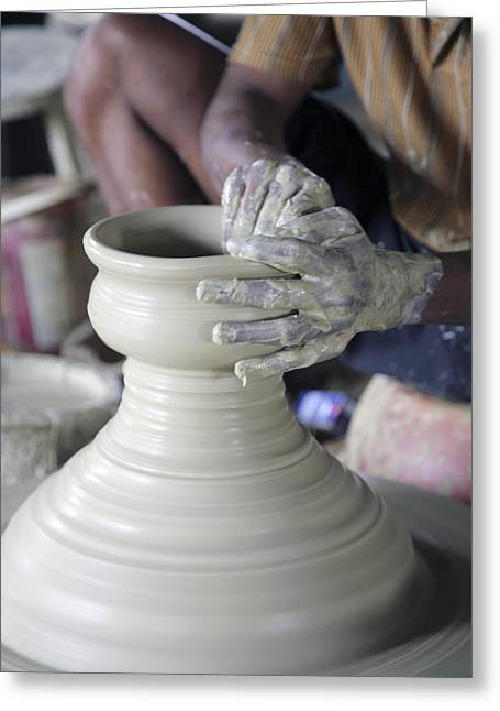 Potter Making Pot Of Clay Greeting Card