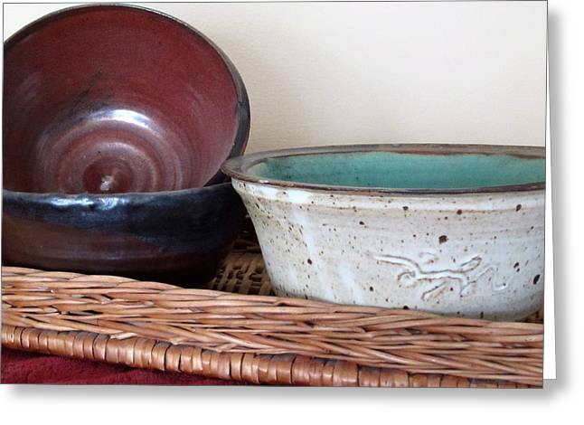 Pottery In A Basket Greeting Card by Kathy Sheeran