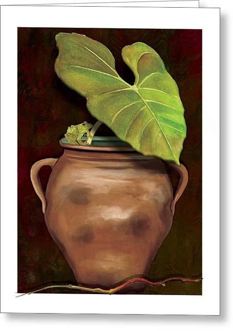 Greeting Card featuring the painting Pottery Jar by Anne Beverley-Stamps