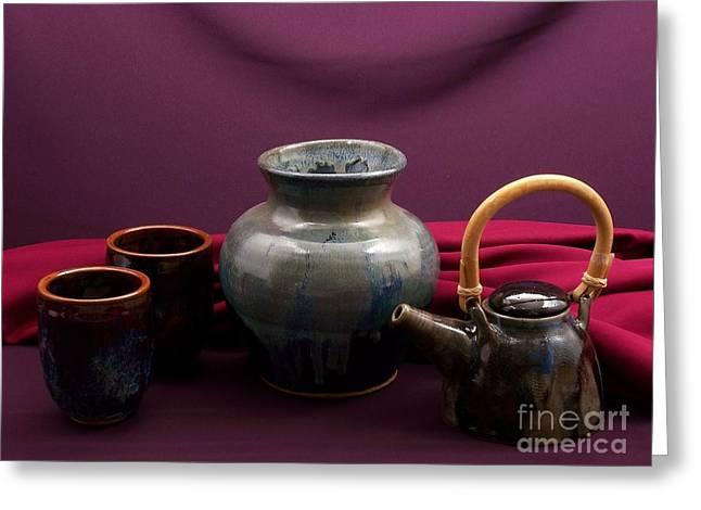 Pottery Still Life Greeting Card by Vilas Malankar