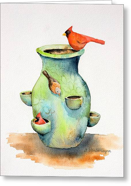 Pottery Vase And Birds Greeting Card by Arline Wagner