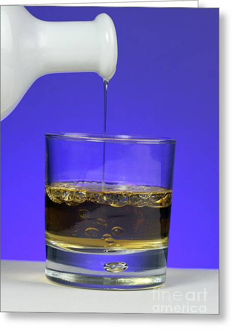 Pouring Oil Into Vinegar Greeting Card by Photo Researchers, Inc.