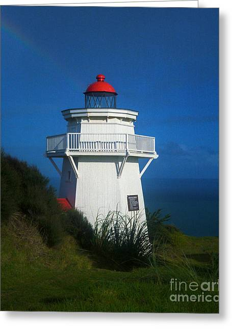 Greeting Card featuring the photograph Pouto Lighthouse With Rainbow New Zealand by Mark Dodd