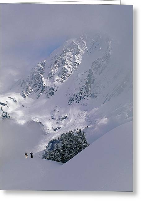 Powder Skiers Head Out-of-bounds Greeting Card