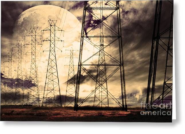 Power Grid Greeting Card by Wingsdomain Art and Photography