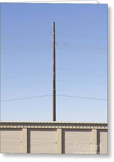 Power Line Pole Over Bay Doors Greeting Card by Dave & Les Jacobs