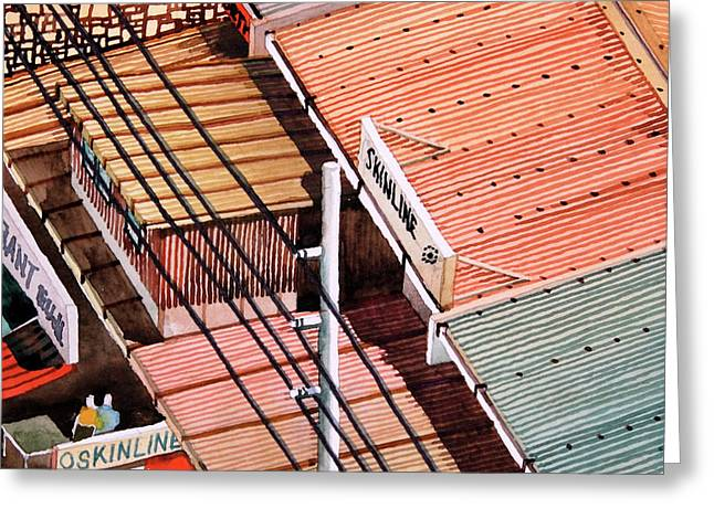 Power Lines And Roofs Greeting Card