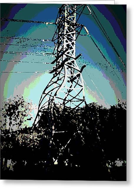 Power Tower Melting Greeting Card by David Alvarez