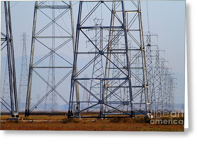 Power Transmission Towers . 7d8802 Greeting Card by Wingsdomain Art and Photography