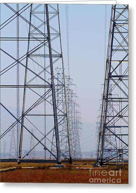 Power Transmission Towers . 7d8804 Greeting Card by Wingsdomain Art and Photography